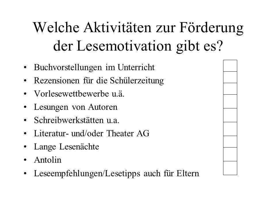 Welche Aktivitäten zur Förderung der Lesemotivation gibt es? Buchvorstellungen im Unterricht Rezensionen für die Schülerzeitung Vorlesewettbewerbe u.ä