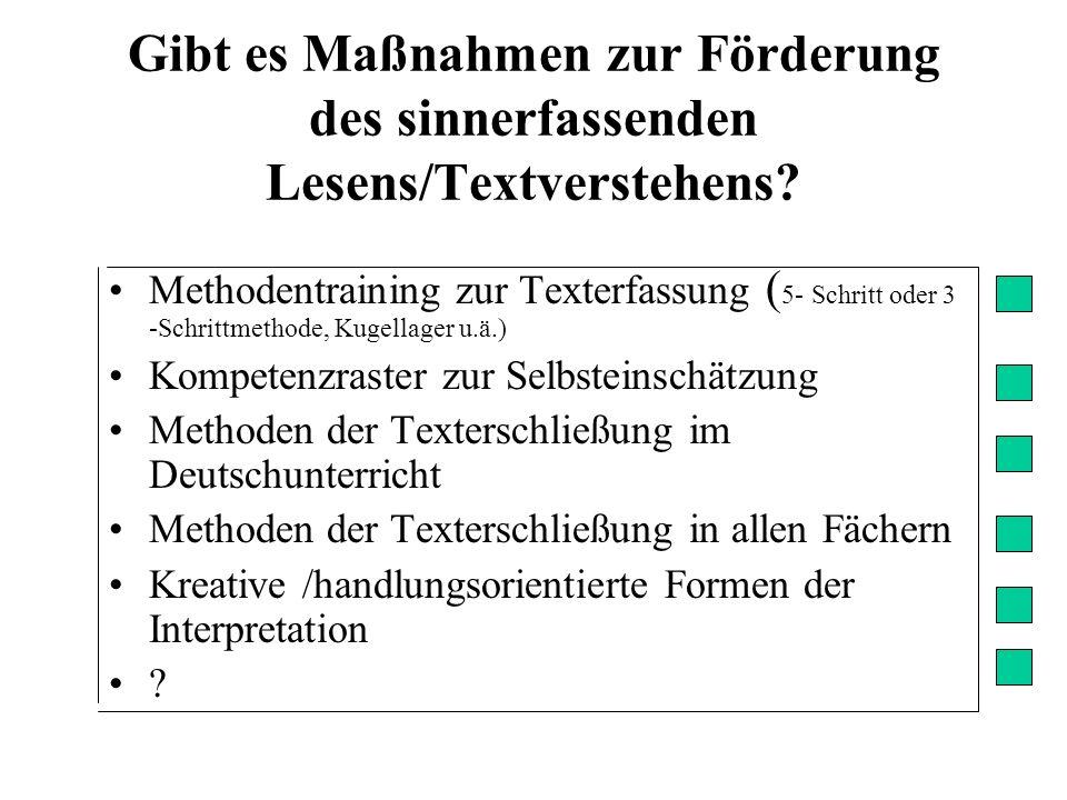 Methodentraining zur Texterfassung ( 5- Schritt oder 3 -Schrittmethode, Kugellager u.ä.) Kompetenzraster zur Selbsteinschätzung Methoden der Textersch