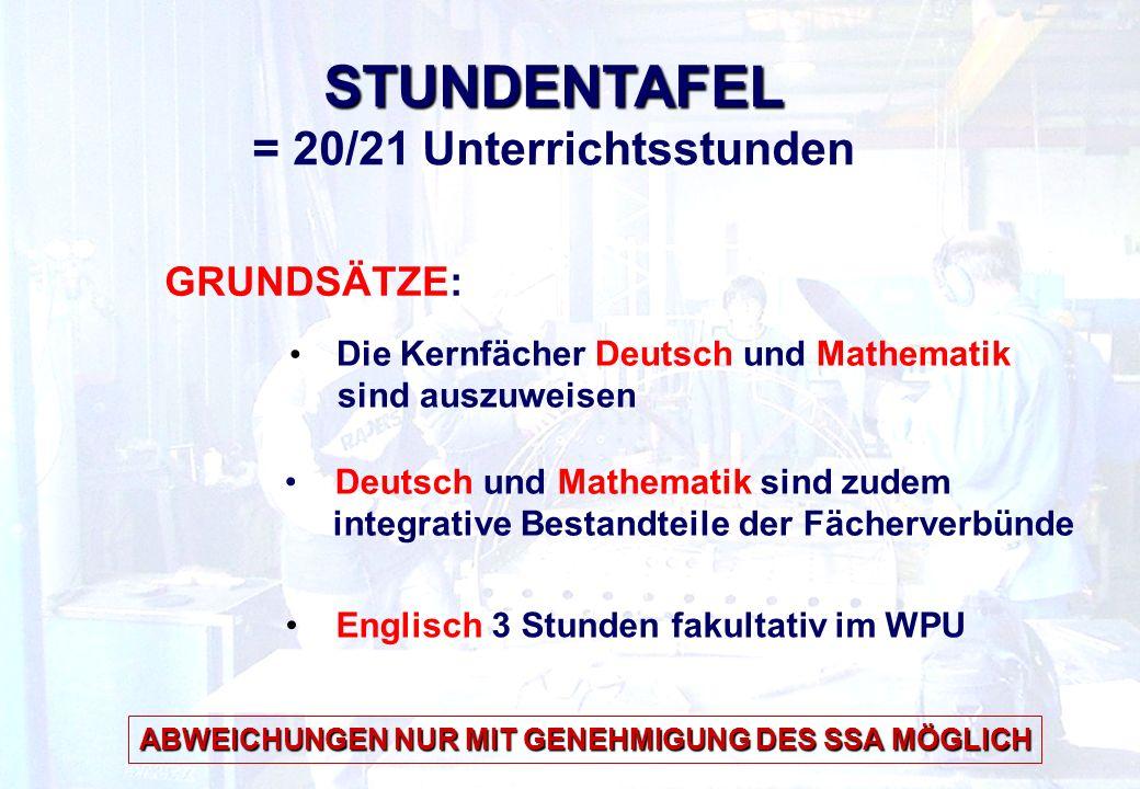 STUNDENTAFEL = 20/21 Unterrichtsstunden Die Kernfächer Deutsch und Mathematik sind auszuweisen Englisch 3 Stunden fakultativ im WPU Deutsch und Mathematik sind zudem integrative Bestandteile der Fächerverbünde GRUNDSÄTZE: ABWEICHUNGEN NUR MIT GENEHMIGUNG DES SSA MÖGLICH
