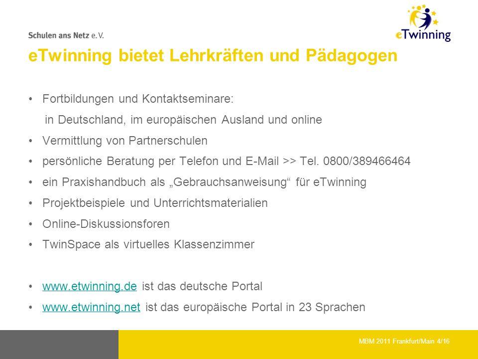 eTwinning bietet Lehrkräften und Pädagogen Fortbildungen und Kontaktseminare: in Deutschland, im europäischen Ausland und online Vermittlung von Partnerschulen persönliche Beratung per Telefon und E-Mail >> Tel.