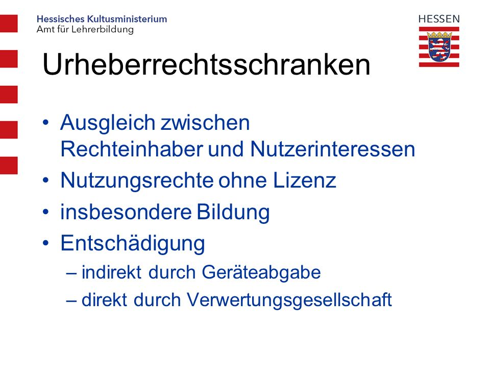Urheberrechtsgesetz Aktualisierung des Urheberrechtsgesetz im Hinblick auf Informationsgesellschaft im September 2003 Digitalisierung und Internet digitale Kopie = Original neu §52a – Nutzung von Datennetzen