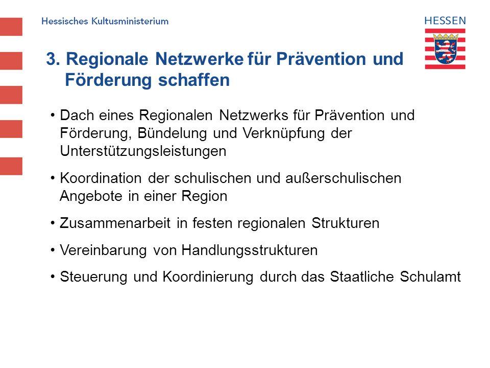 3. Regionale Netzwerke für Prävention und Förderung schaffen Dach eines Regionalen Netzwerks für Prävention und Förderung, Bündelung und Verknüpfung d
