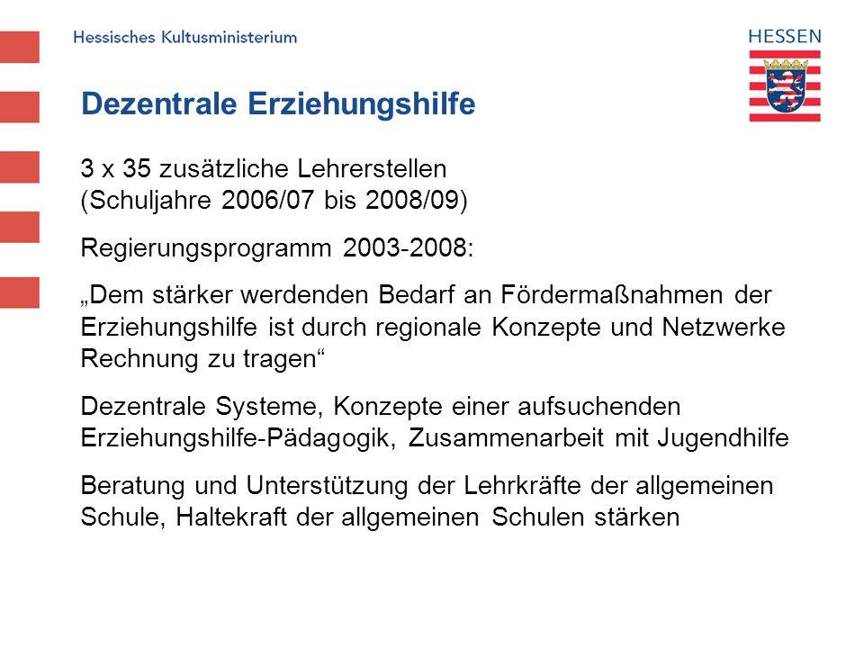 Dezentrale Erziehungshilfe 3 x 35 zusätzliche Lehrerstellen (Schuljahre 2006/07 bis 2008/09) Regierungsprogramm 2003-2008: Dem stärker werdenden Bedar