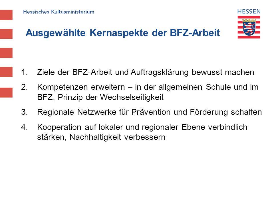 Ausgewählte Kernaspekte der BFZ-Arbeit 1. Ziele der BFZ-Arbeit und Auftragsklärung bewusst machen 2. Kompetenzen erweitern – in der allgemeinen Schule
