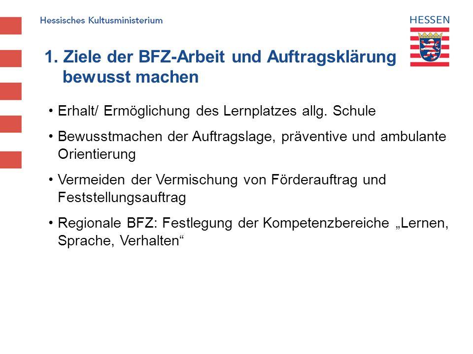 1. Ziele der BFZ-Arbeit und Auftragsklärung bewusst machen Erhalt/ Ermöglichung des Lernplatzes allg. Schule Bewusstmachen der Auftragslage, präventiv