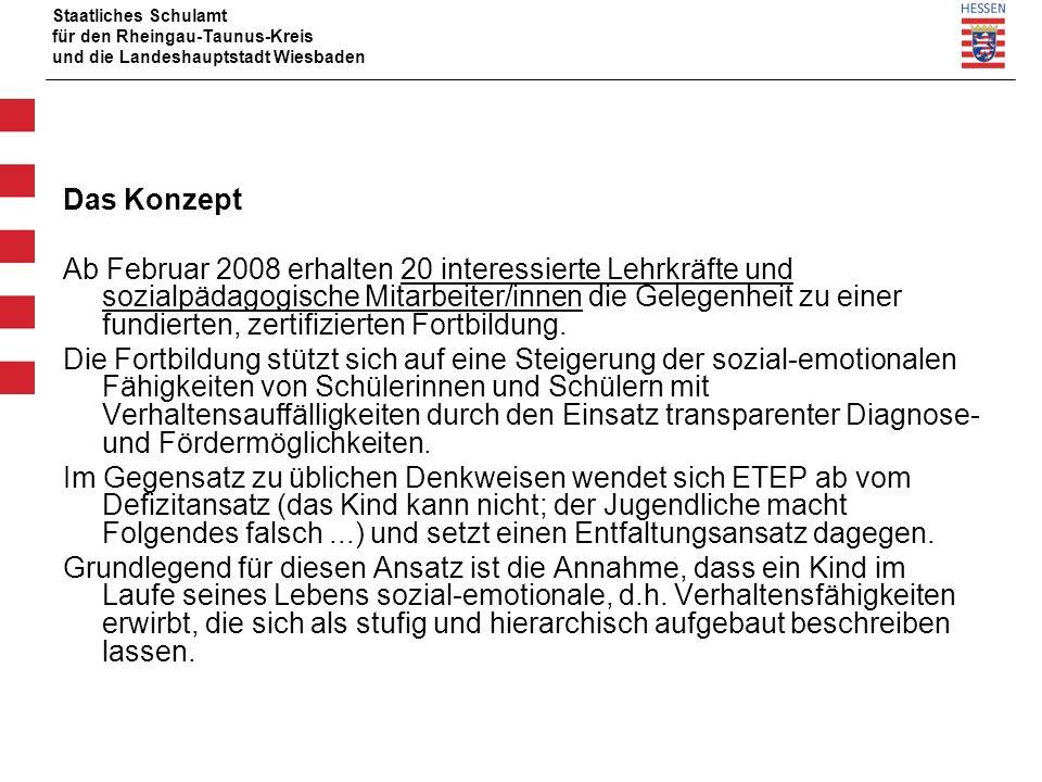 Staatliches Schulamt für den Rheingau-Taunus-Kreis und die Landeshauptstadt Wiesbaden Das Konzept Ab Februar 2008 erhalten 20 interessierte Lehrkräfte und sozialpädagogische Mitarbeiter/innen die Gelegenheit zu einer fundierten, zertifizierten Fortbildung.