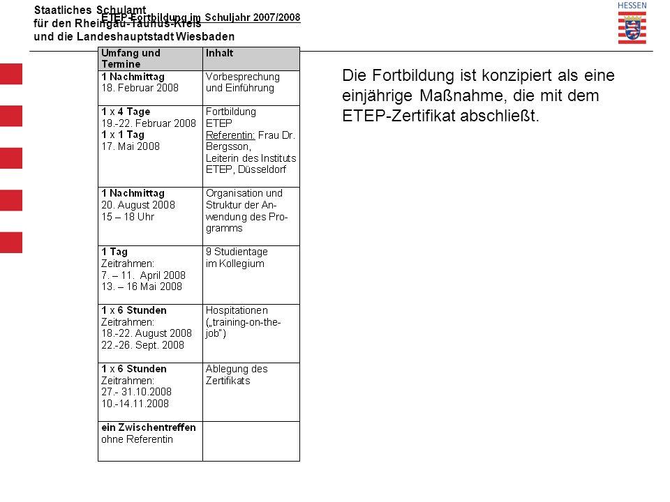 Staatliches Schulamt für den Rheingau-Taunus-Kreis und die Landeshauptstadt Wiesbaden Die Fortbildung ist konzipiert als eine einjährige Maßnahme, die mit dem ETEP-Zertifikat abschließt.