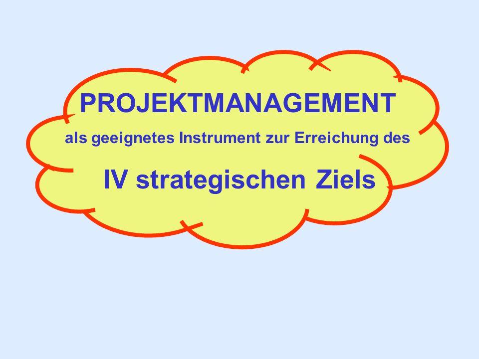 PROJEKTMANAGEMENT als geeignetes Instrument zur Erreichung des IV strategischen Ziels