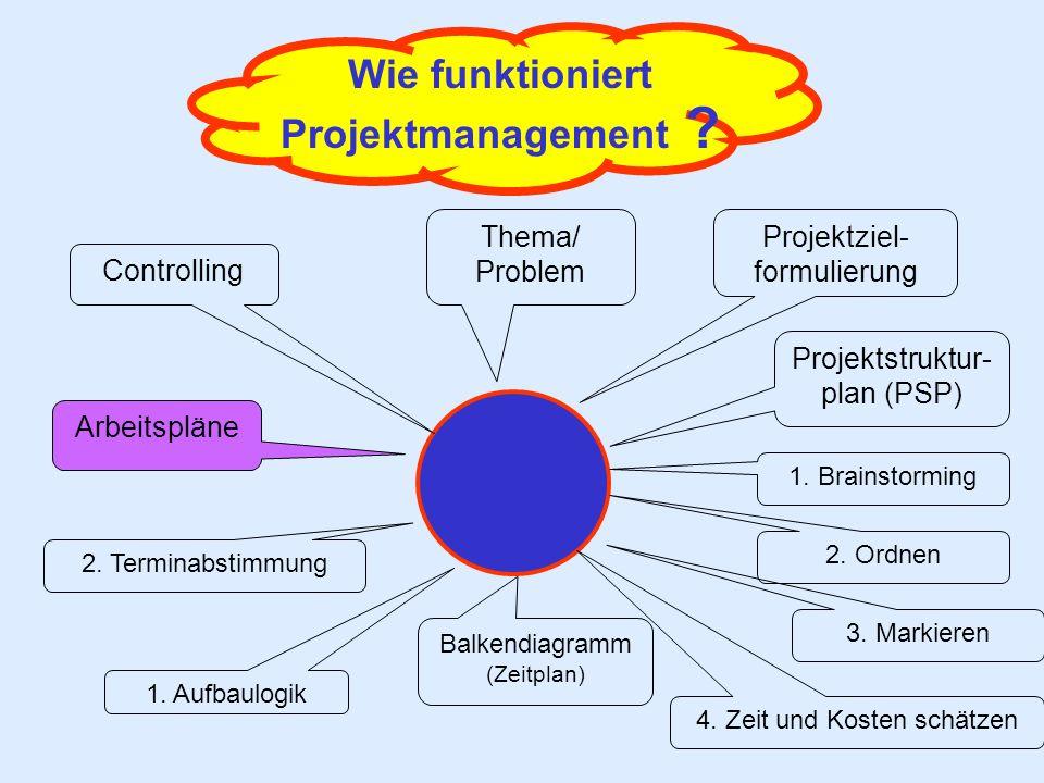 Wie funktioniert Projektmanagement ? Thema/ Problem Balkendiagramm (Zeitplan) Projektziel- formulierung 2. Terminabstimmung Arbeitspläne Projektstrukt