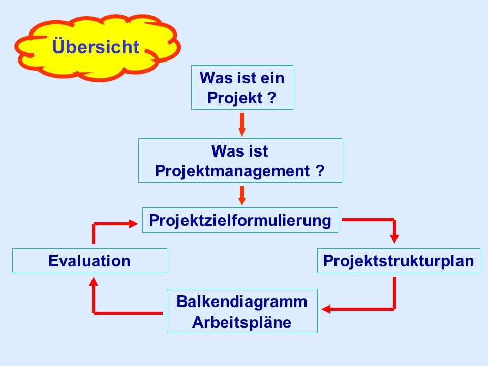 Übersicht Was ist ein Projekt ? Was ist Projektmanagement ? Projektzielformulierung Balkendiagramm Arbeitspläne ProjektstrukturplanEvaluation
