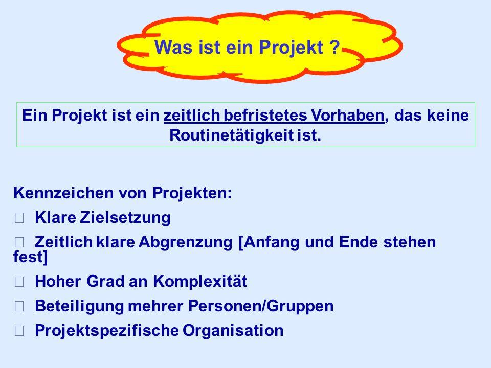 Was ist ein Projekt ? Ein Projekt ist ein zeitlich befristetes Vorhaben, das keine Routinetätigkeit ist. Kennzeichen von Projekten:  Klare Zielsetzun