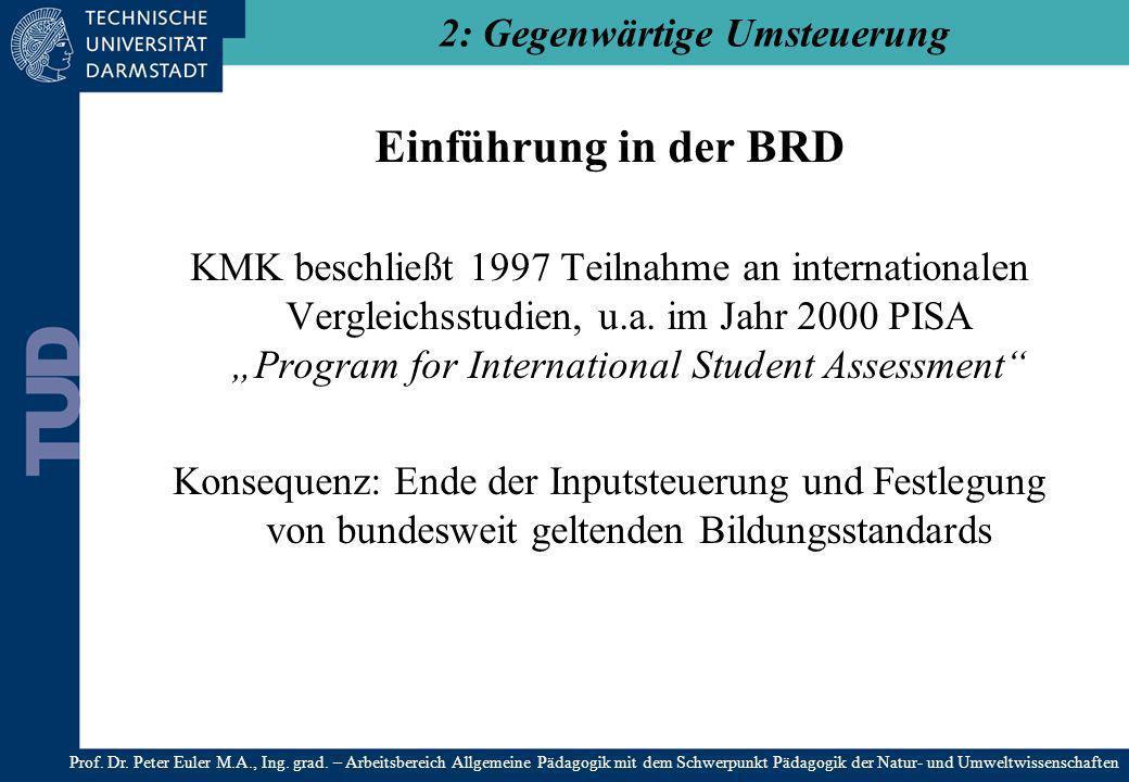 Einführung in der BRD KMK beschließt 1997 Teilnahme an internationalen Vergleichsstudien, u.a. im Jahr 2000 PISA Program for International Student Ass