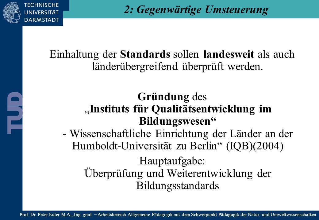 Einhaltung der Standards sollen landesweit als auch länderübergreifend überprüft werden. Gründung desInstituts für Qualitätsentwicklung im Bildungswes