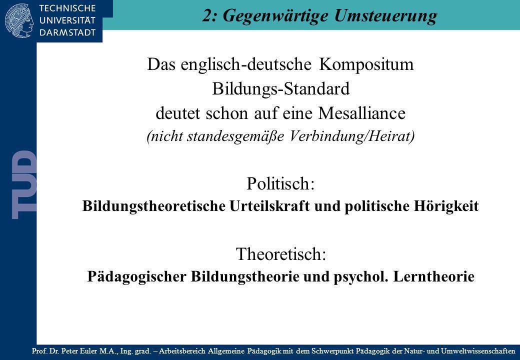 Das englisch-deutsche Kompositum Bildungs-Standard deutet schon auf eine Mesalliance (nicht standesgemäße Verbindung/Heirat) Politisch: Bildungstheore