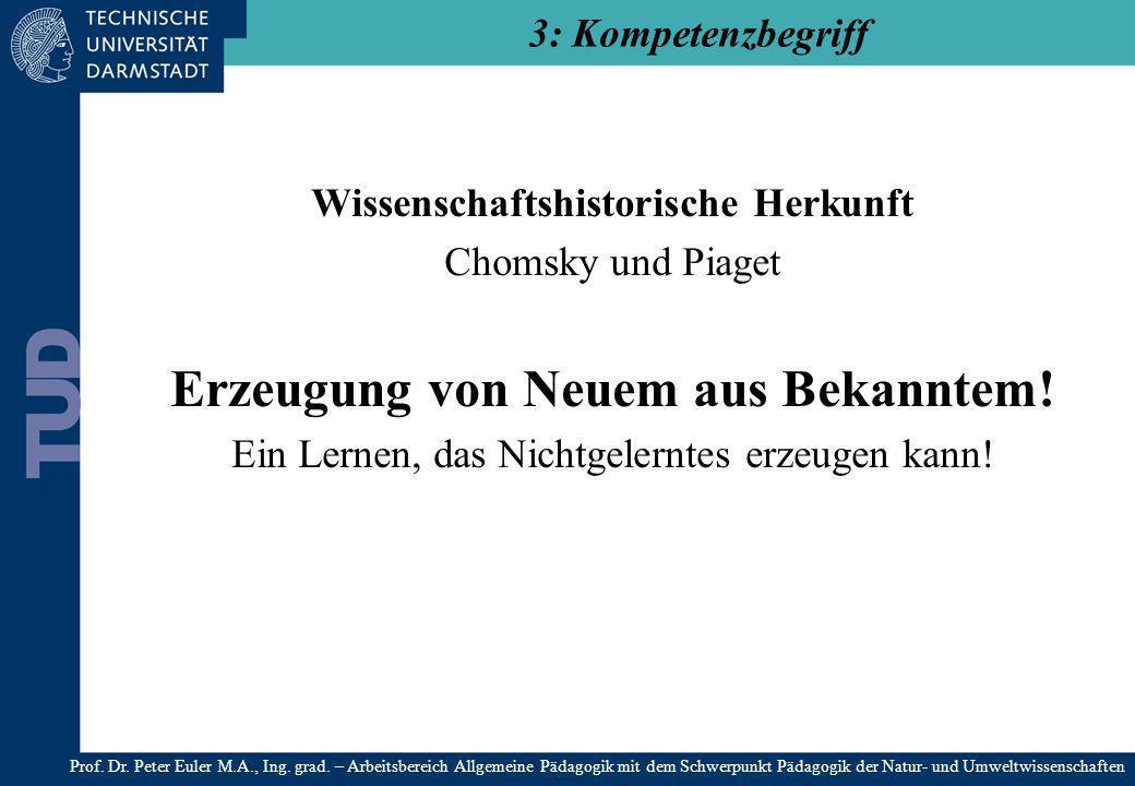 Wissenschaftshistorische Herkunft Chomsky und Piaget Erzeugung von Neuem aus Bekanntem! Ein Lernen, das Nichtgelerntes erzeugen kann! 3: Kompetenzbegr