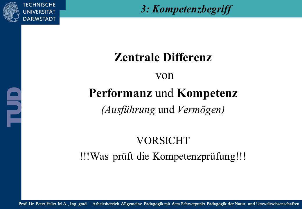 Zentrale Differenz von Performanz und Kompetenz (Ausführung und Vermögen) VORSICHT !!!Was prüft die Kompetenzprüfung!!! 3: Kompetenzbegriff Prof. Dr.