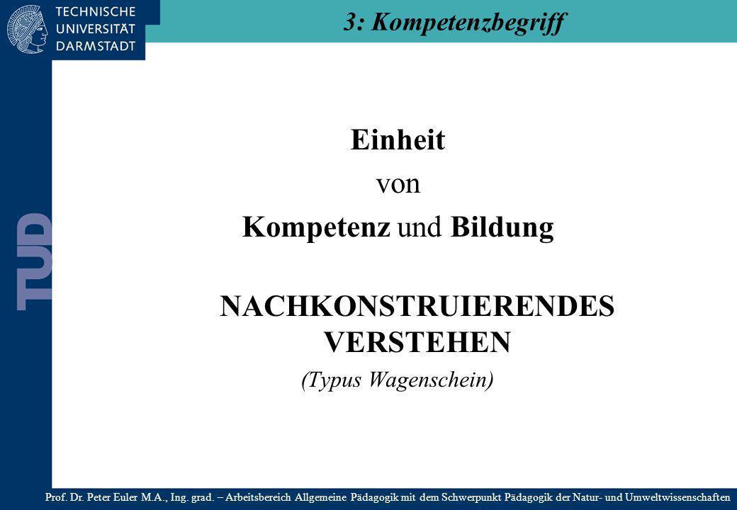 Einheit von Kompetenz und Bildung NACHKONSTRUIERENDES VERSTEHEN (Typus Wagenschein) 3: Kompetenzbegriff Prof. Dr. Peter Euler M.A., Ing. grad. – Arbei