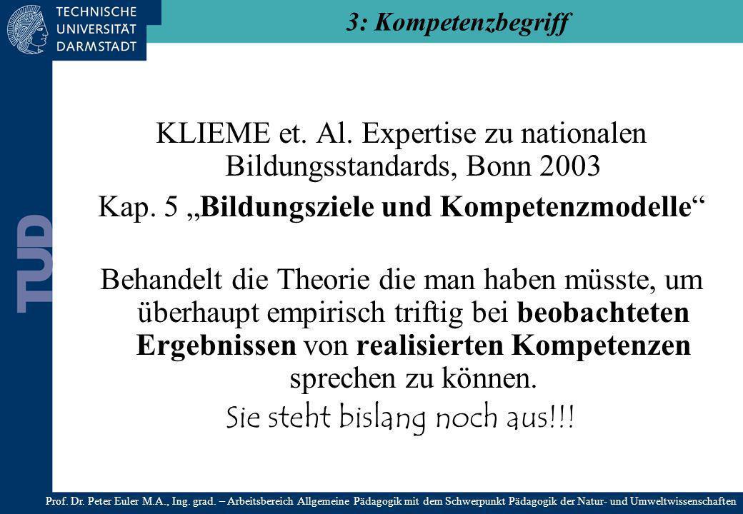 KLIEME et. Al. Expertise zu nationalen Bildungsstandards, Bonn 2003 Kap. 5 Bildungsziele und Kompetenzmodelle Behandelt die Theorie die man haben müss
