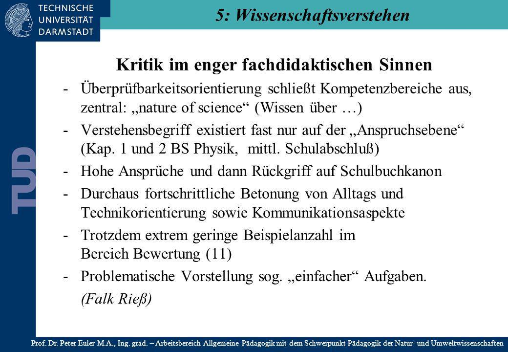 Kritik im enger fachdidaktischen Sinnen -Überprüfbarkeitsorientierung schließt Kompetenzbereiche aus, zentral: nature of science (Wissen über …) -Vers