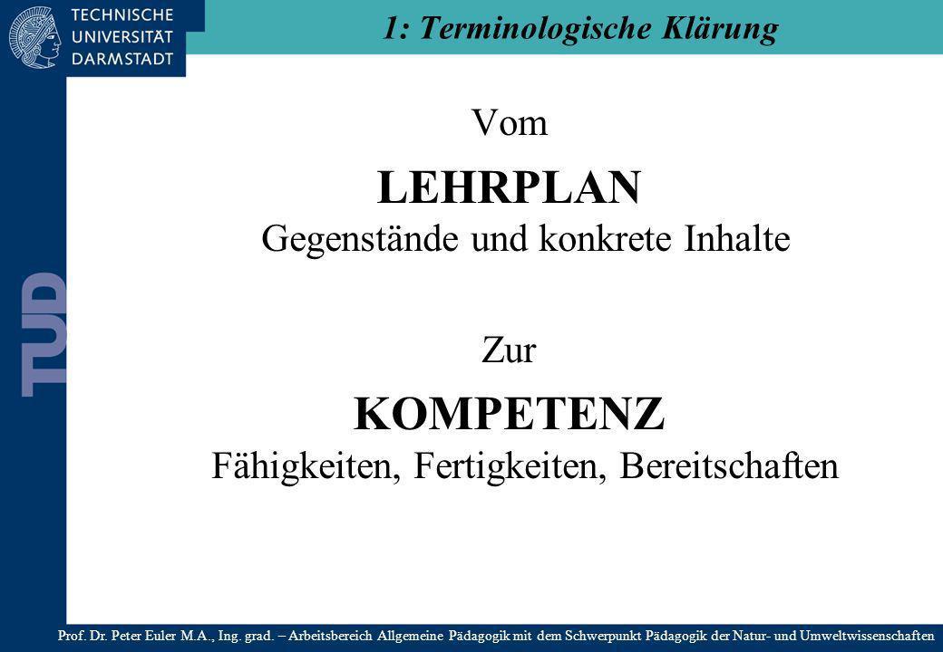 Vom LEHRPLAN Gegenstände und konkrete Inhalte Zur KOMPETENZ Fähigkeiten, Fertigkeiten, Bereitschaften 1: Terminologische Klärung Prof. Dr. Peter Euler