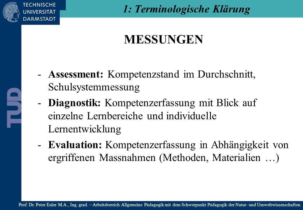 MESSUNGEN -Assessment: Kompetenzstand im Durchschnitt, Schulsystemmessung -Diagnostik: Kompetenzerfassung mit Blick auf einzelne Lernbereiche und indi