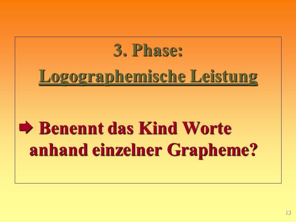 13 3.Phase: Logographemische Leistung Benennt das Kind Worte anhand einzelner Grapheme.
