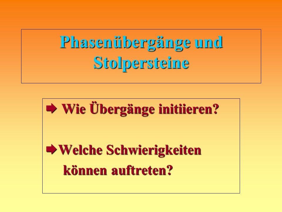 Phasenübergänge und Stolpersteine Wie Übergänge initiieren.