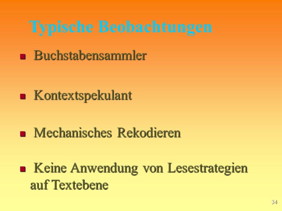 34 Buchstabensammler Buchstabensammler Mechanisches Rekodieren Mechanisches Rekodieren Kontextspekulant Kontextspekulant Keine Anwendung von Lesestrategien auf Textebene Keine Anwendung von Lesestrategien auf Textebene Typische Beobachtungen