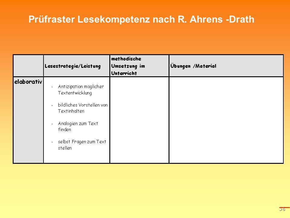 38 Prüfraster Lesekompetenz nach R. Ahrens -Drath