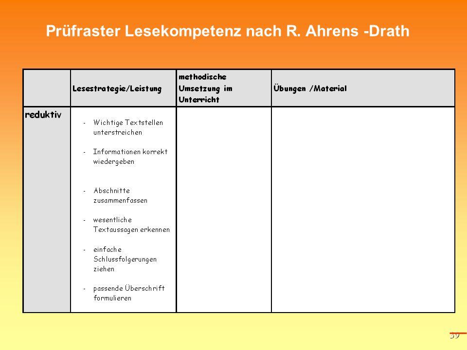 39 Prüfraster Lesekompetenz nach R. Ahrens -Drath