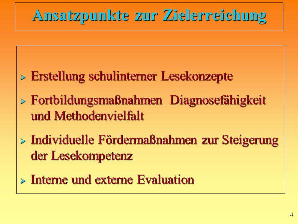 4 Ansatzpunkte zur Zielerreichung Erstellung schulinterner Lesekonzepte Erstellung schulinterner Lesekonzepte Fortbildungsmaßnahmen Diagnosefähigkeit und Methodenvielfalt Fortbildungsmaßnahmen Diagnosefähigkeit und Methodenvielfalt Individuelle Fördermaßnahmen zur Steigerung der Lesekompetenz Individuelle Fördermaßnahmen zur Steigerung der Lesekompetenz Interne und externe Evaluation Interne und externe Evaluation