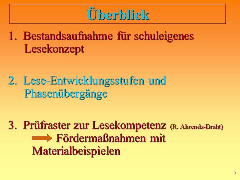 5 Überblick 1.Bestandsaufnahme für schuleigenes Lesekonzept 2.