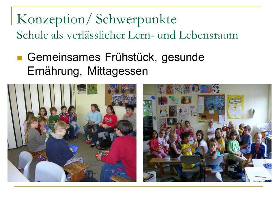 Konzeption/ Schwerpunkte Schule als verlässlicher Lern- und Lebensraum Gemeinsames Frühstück, gesunde Ernährung, Mittagessen