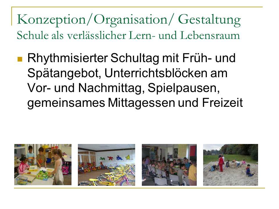 Konzeption/Organisation/ Gestaltung Schule als verlässlicher Lern- und Lebensraum Rhythmisierter Schultag mit Früh- und Spätangebot, Unterrichtsblöcke