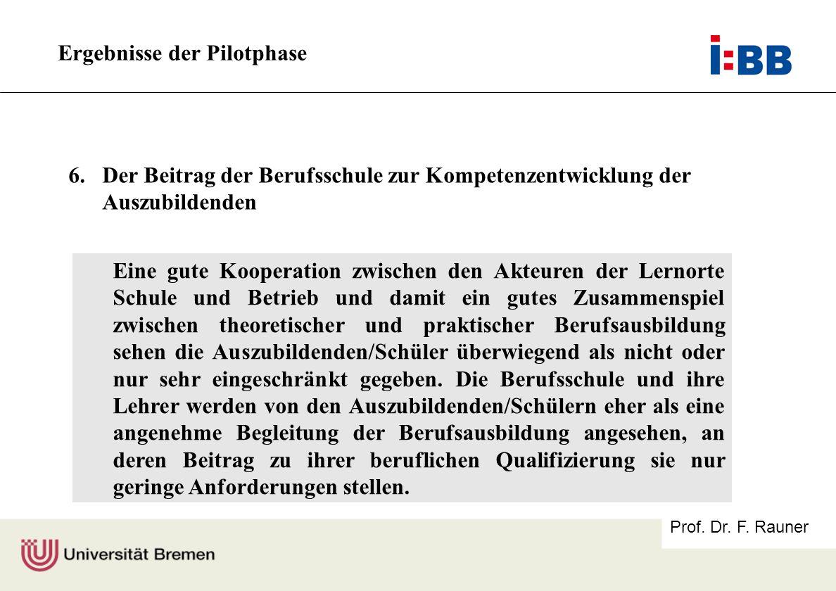 Prof. Dr. F. Rauner Ergebnisse der Pilotphase Eine gute Kooperation zwischen den Akteuren der Lernorte Schule und Betrieb und damit ein gutes Zusammen