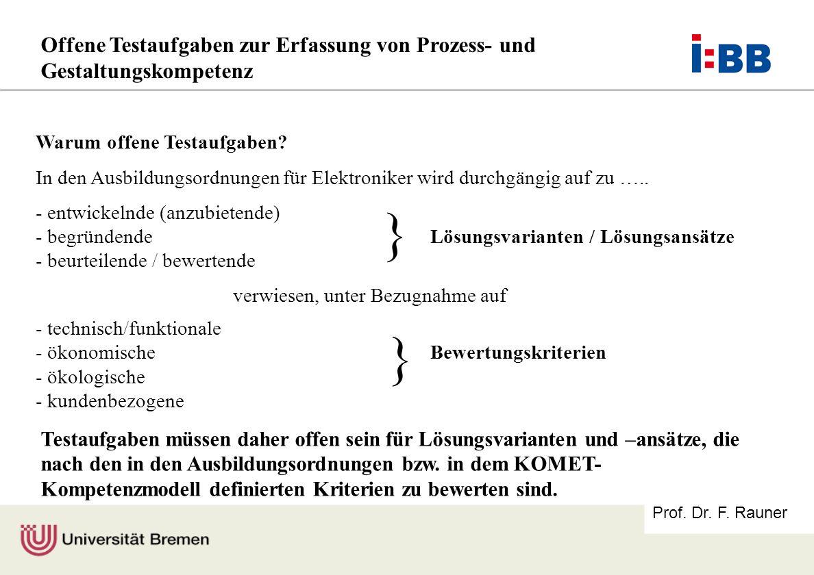 Prof. Dr. F. Rauner Offene Testaufgaben zur Erfassung von Prozess- und Gestaltungskompetenz Warum offene Testaufgaben? In den Ausbildungsordnungen für
