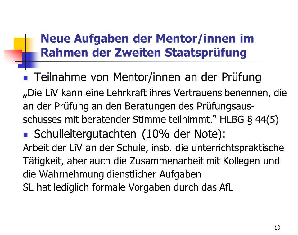 10 Neue Aufgaben der Mentor/innen im Rahmen der Zweiten Staatsprüfung Teilnahme von Mentor/innen an der Prüfung Die LiV kann eine Lehrkraft ihres Vert