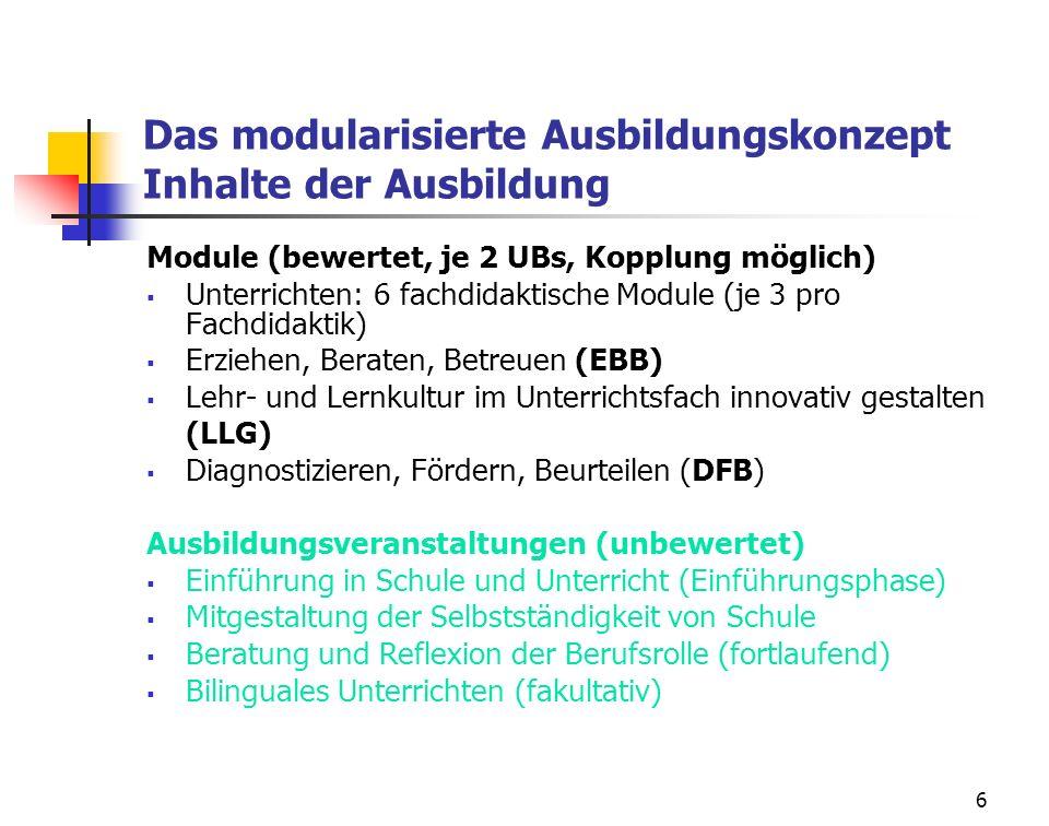 6 Das modularisierte Ausbildungskonzept Inhalte der Ausbildung Module (bewertet, je 2 UBs, Kopplung möglich) Unterrichten: 6 fachdidaktische Module (j