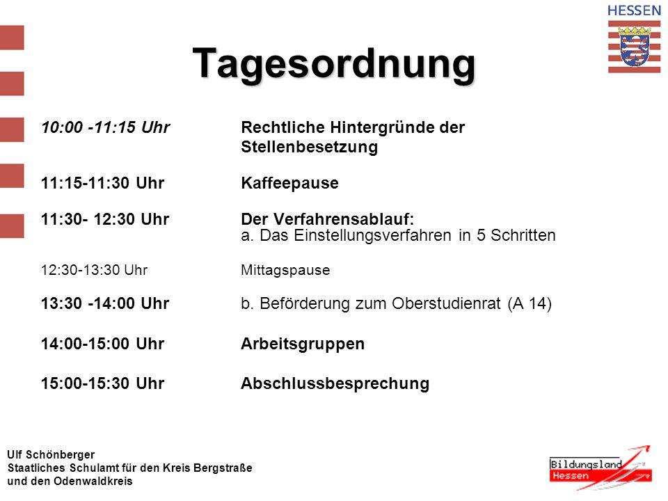 Ulf Schönberger Staatliches Schulamt für den Kreis Bergstraße und den Odenwaldkreis Tagesordnung 10:00 -11:15 Uhr Rechtliche Hintergründe der Stellenbesetzung 11:15-11:30 UhrKaffeepause 11:30- 12:30 Uhr Der Verfahrensablauf: a.