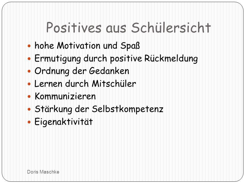 Positives aus Schülersicht hohe Motivation und Spaß Ermutigung durch positive Rückmeldung Ordnung der Gedanken Lernen durch Mitschüler Kommunizieren Stärkung der Selbstkompetenz Eigenaktivität Doris Maschke