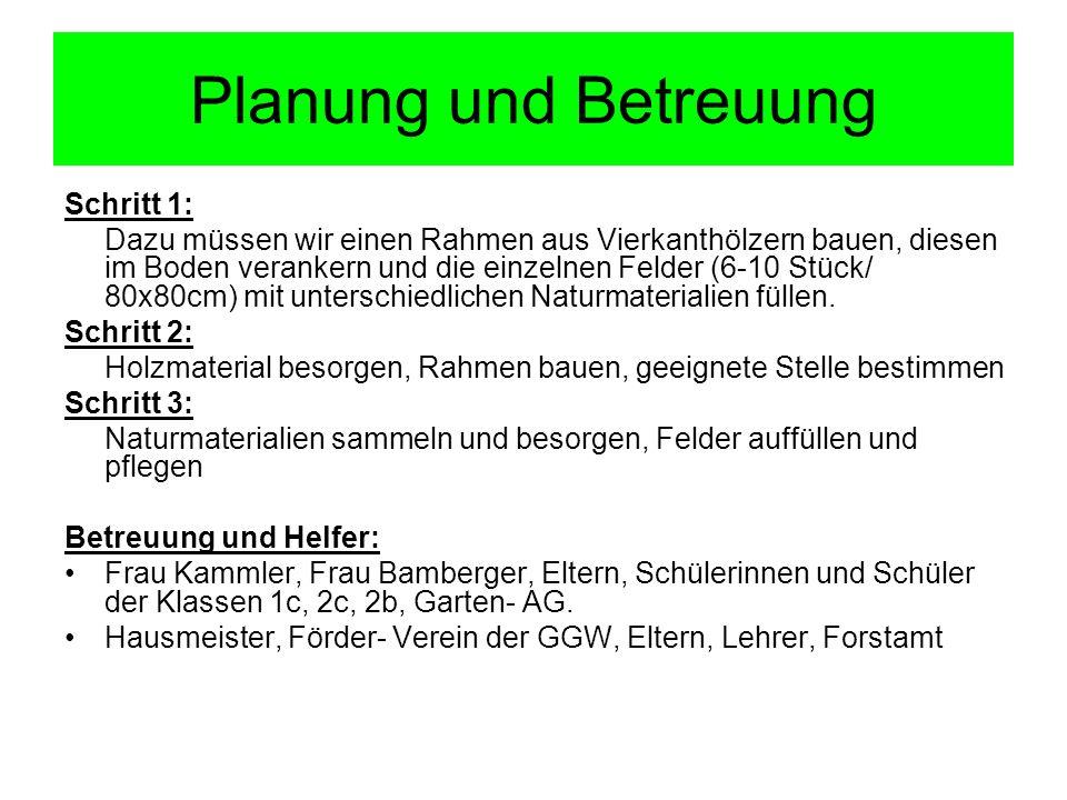 Planung und Betreuung Schritt 1: Dazu müssen wir einen Rahmen aus Vierkanthölzern bauen, diesen im Boden verankern und die einzelnen Felder (6-10 Stüc