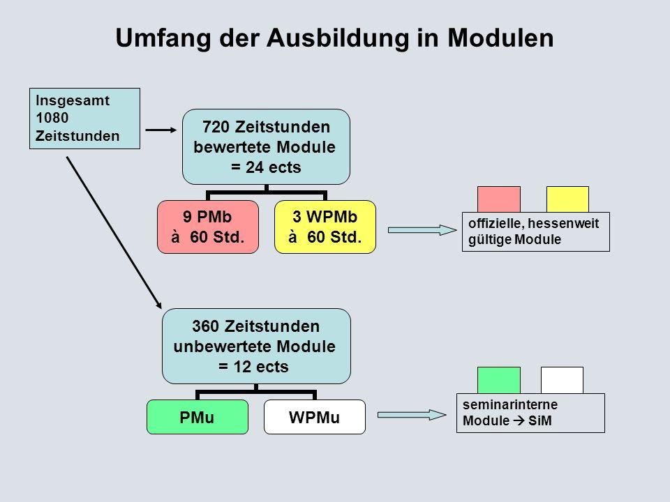 720 Zeitstunden bewertete Module = 24 ects 9 PMb à 60 Std. 3 WPMb à 60 Std. Umfang der Ausbildung in Modulen 360 Zeitstunden unbewertete Module = 12 e