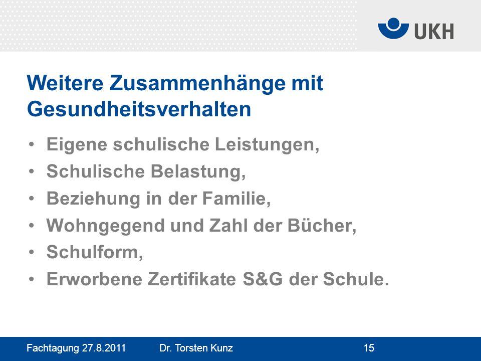 Fachtagung 27.8.2011 Dr. Torsten Kunz15 Weitere Zusammenhänge mit Gesundheitsverhalten Eigene schulische Leistungen, Schulische Belastung, Beziehung i