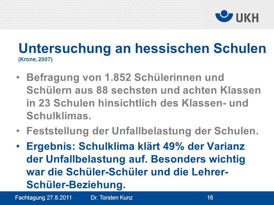 Fachtagung 27.8.2011 Dr. Torsten Kunz16 Untersuchung an hessischen Schulen (Krone, 2007) Befragung von 1.852 Schülerinnen und Schülern aus 88 sechsten