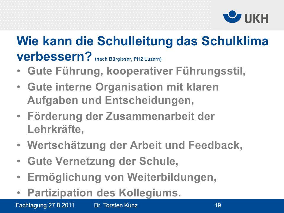 Fachtagung 27.8.2011 Dr. Torsten Kunz19 Wie kann die Schulleitung das Schulklima verbessern? (nach Bürgisser, PHZ Luzern) Gute Führung, kooperativer F