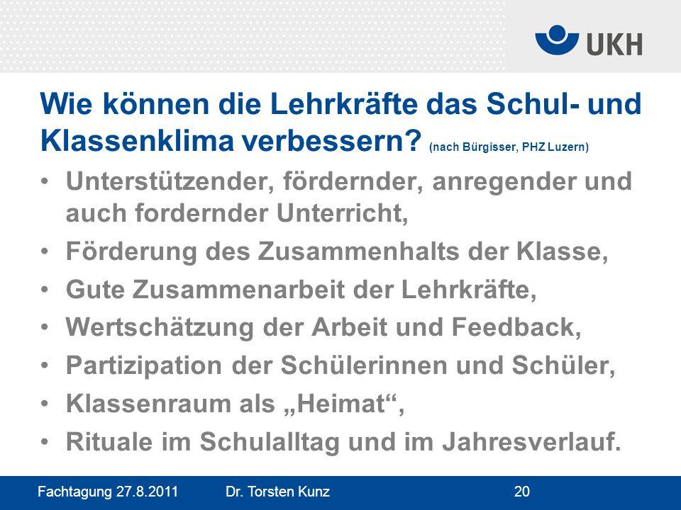 Fachtagung 27.8.2011 Dr. Torsten Kunz20 Wie können die Lehrkräfte das Schul- und Klassenklima verbessern? (nach Bürgisser, PHZ Luzern) Unterstützender