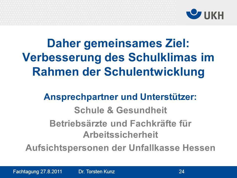 Fachtagung 27.8.2011 Dr. Torsten Kunz24 Daher gemeinsames Ziel: Verbesserung des Schulklimas im Rahmen der Schulentwicklung Ansprechpartner und Unters