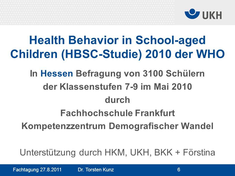 Fachtagung 27.8.2011 Dr. Torsten Kunz6 Health Behavior in School-aged Children (HBSC-Studie) 2010 der WHO In Hessen Befragung von 3100 Schülern der Kl