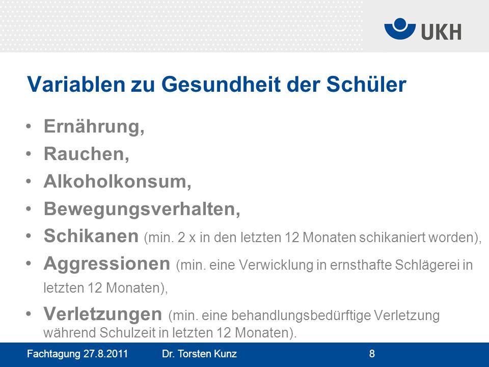 Fachtagung 27.8.2011 Dr. Torsten Kunz8 Variablen zu Gesundheit der Schüler Ernährung, Rauchen, Alkoholkonsum, Bewegungsverhalten, Schikanen (min. 2 x