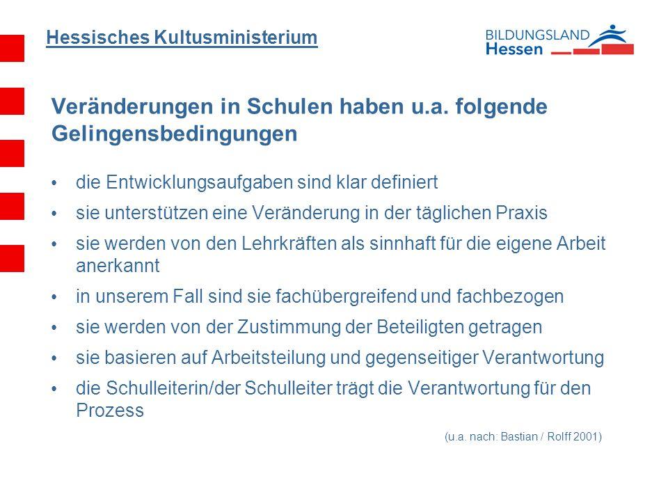 Hessisches Kultusministerium Veränderungen in Schulen haben u.a. folgende Gelingensbedingungen die Entwicklungsaufgaben sind klar definiert sie unters